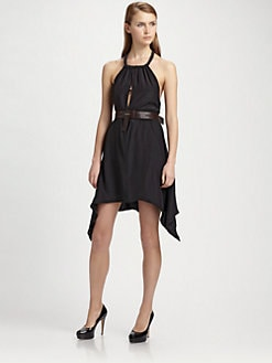 ABS - Belted Silk Halter Dress