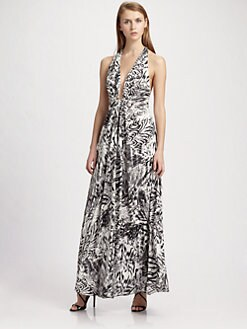 ABS - Animal-Print Halter Gown