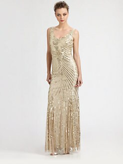 Aidan Mattox - Sequined Starburst Gown