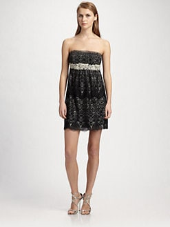 ABS - Strapless Embroidered Dress