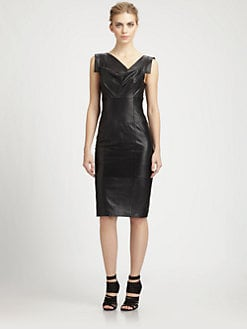 Black Halo - Leather Jackie O. Dress