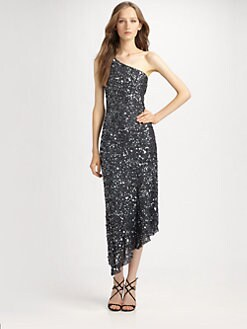 ABS - One-Shoulder Beaded Dress