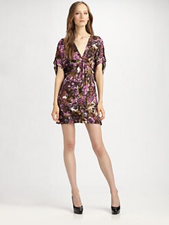 ABS - Pleat-Front Print Dress