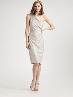 David Meister - One-Shoulder Matelass&eacute; Dress