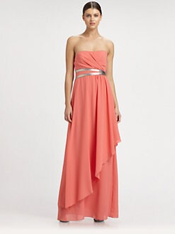 Nicole Miller - Strapless Georgette Gown