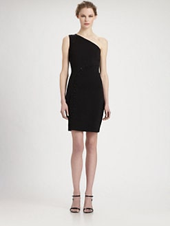 Halston Heritage - Asymmetrical Lace-Up Dress