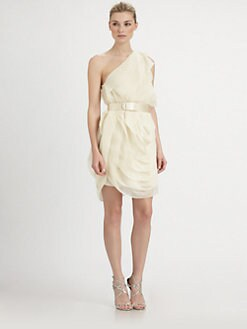 Halston Heritage - One-Shoulder Belted Dress