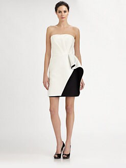Halston Heritage - Strapless Ruffle Dress