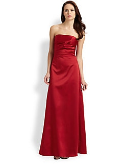 ABS - Strapless Ruched Dress