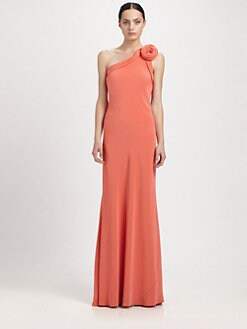 ABS - One-Shoulder Rosette Gown