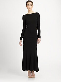 ABS - Backless Jersey Zipper Gown