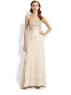 Sue Wong - Strapless Feather-Trimmed Gown