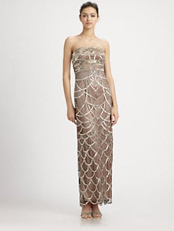 Sue Wong - Strapless Platinum Rose Dress