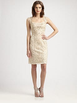 Sue Wong - Embroidered Cap-Sleeve Dress