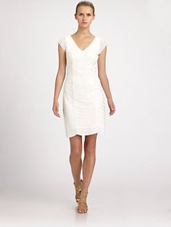 Sue Wong - Embroidered V-Neck Dress