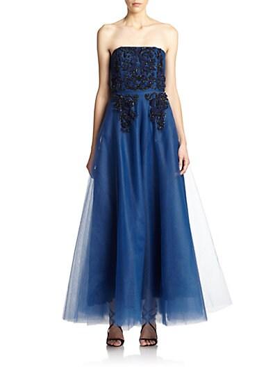 Anita Strapless Embellished Tulle Gown $328.80 AT vintagedancer.com