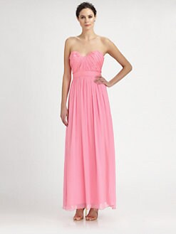 ABS - Strapless Silk Chiffon Gown