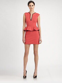 ABS - Leather-Trimmed Peplum Dress