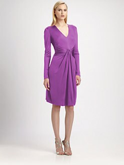 ISSA - Silk Jersey Drape Dress