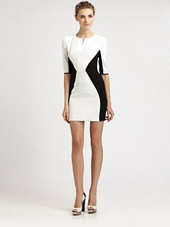Black Halo - Two-Tone Mini Sheath Dress