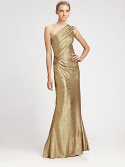 David Meister - One-Shoulder Metallic Gown