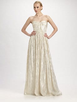 ERIN by Erin Fetherston - Strapless Shirred Metallic Gown