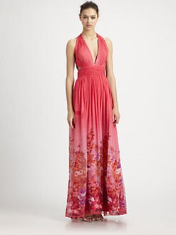 Aidan Mattox - Draped Silk Halter Gown