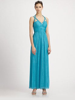 Aidan Mattox - Beaded Strap Chiffon Gown