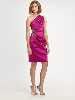 David Meister - Asymmetrical Satin Dress