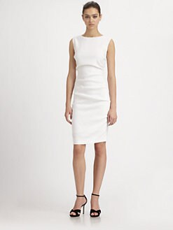 Nicole Miller - Stretch Linen Tuck Dress