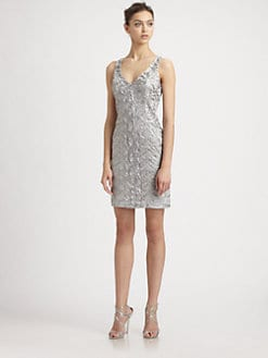 Sue Wong - Embellished Platinum Dress