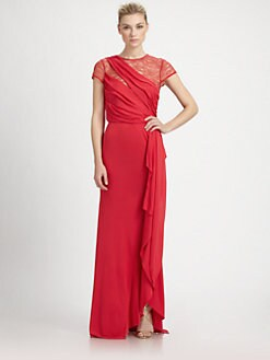 ABS - Lace Detail Drape Gown
