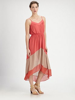 ABS - Colorblock Hi-Lo Maxi Dress