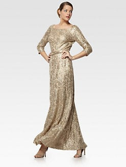 David Meister - Metallic Lace Gown