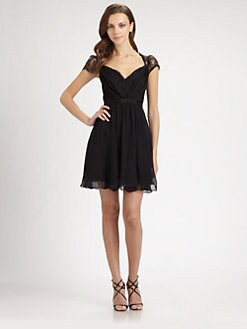 ABS - Lace-Trimmed Silk Dress