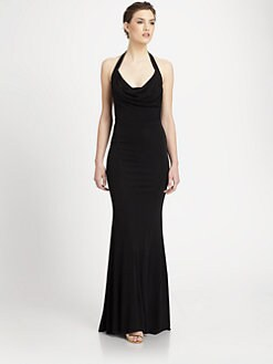 ABS - Cowl Neck Halter Gown