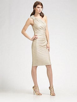 David Meister - Matelasse One Shoulder Dress