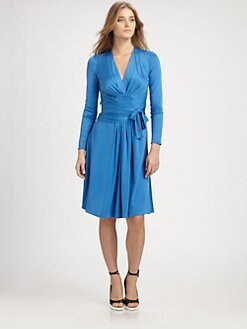 ISSA - Silk Faux Wrap Dress