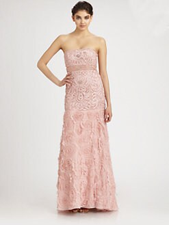 Sue Wong - Embroidered Floral Strapless Gown
