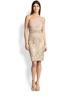 Sue Wong - Asymmetrical Ruched & Beaded Dress