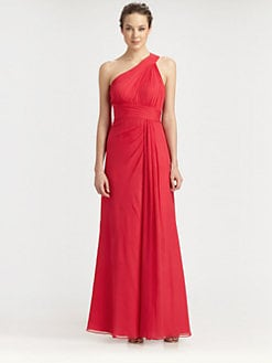 Aidan Mattox - Silk One-Shoulder Gown