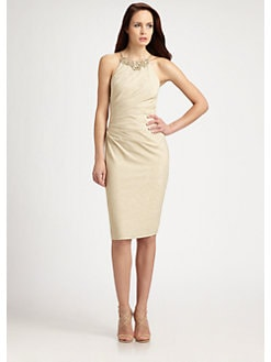 David Meister - Metallic Necklace Dress