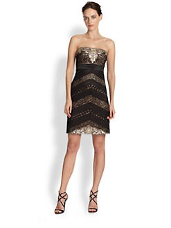 Sue Wong - Strapless Sequined Pintuck & Ribbon-Detailed Dress