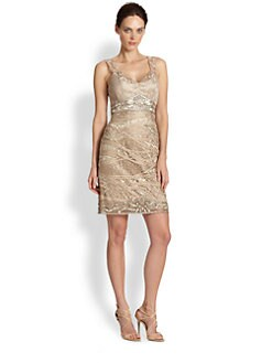Sue Wong - Embellished Mixed-Media Dress
