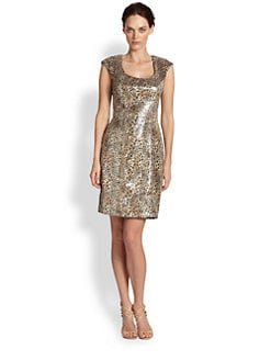 Sue Wong - Sequined Leopard-Print Dress