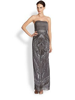 Sue Wong - Strapless Plissé-Bodice Beaded Gown