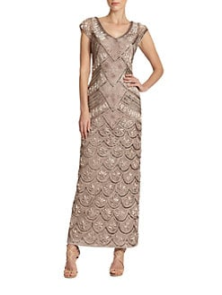 Sue Wong - Sequin & Ribbon-Embellished Gown