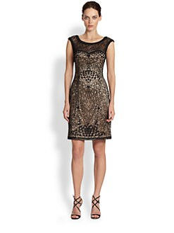 Sue Wong - Lace-Paneled Embroidered Dress