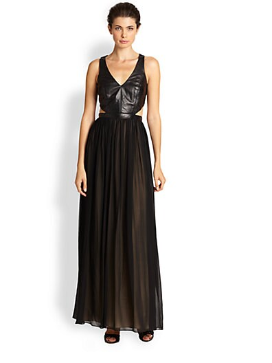 Nicole Miller Leather & Chiffon Gown   Black