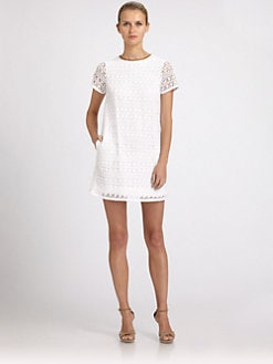 ABS - Leather-Trimmed Crochet Dress